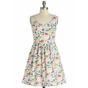 ModCloth Mod Life Print Dress Sz L